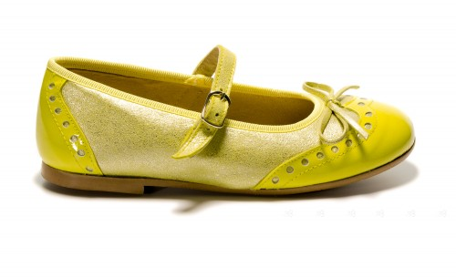 Yellow Shimmer Mary Janes with a patent toe
