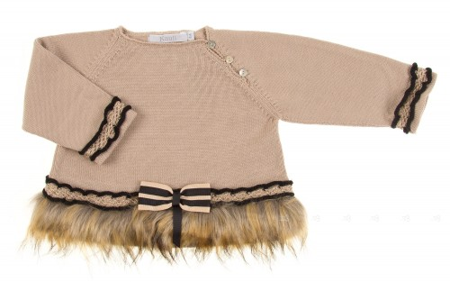 Beige Knitted Sweater with Faux Fur Hem