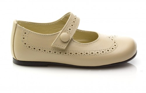 Beige Leather Mary Janes