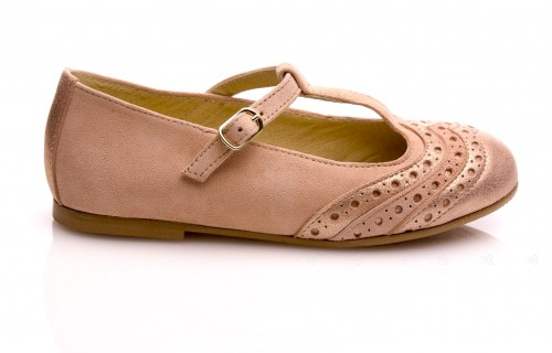 Rose Suede Leather Pearly  Toe Mary Jane