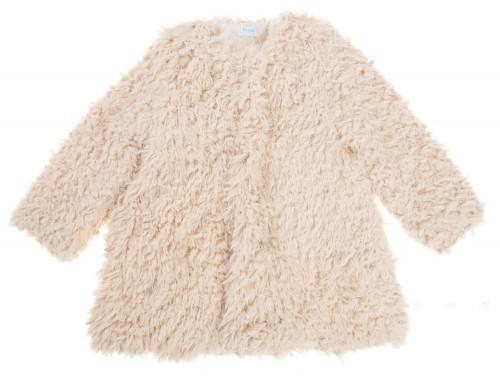 Girls Ivory Synthetic Fur Coat