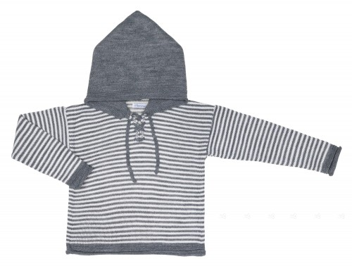 Boys Gray & White Striped Sweater With Hood