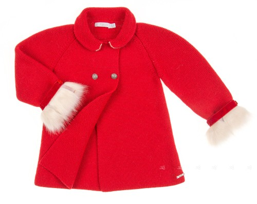 Red Knitted Coat with faux fur details