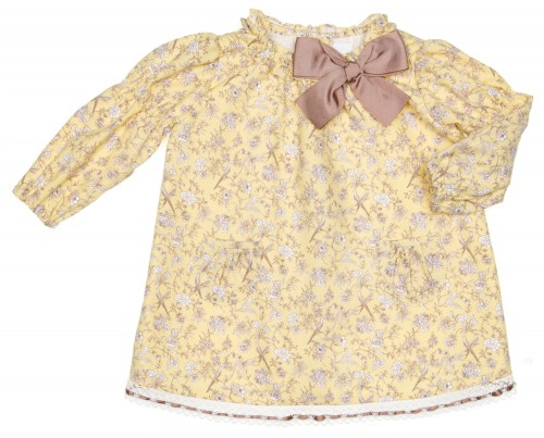Yellow & Beige Floral Dress with Bow