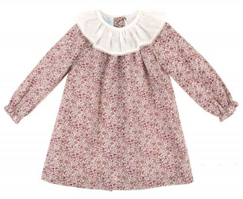 Grey & Burgundy Floral Dress With Ruffle Collar