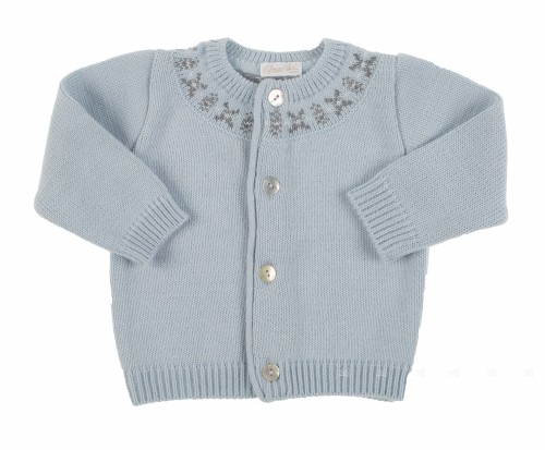 pale blue knitted cardigan