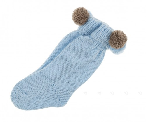 Blue knitted socks with pompoms