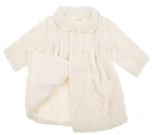Ivory Knitted & Synthetic Fur coat