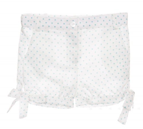 White & Aquamarine polka dot linen short