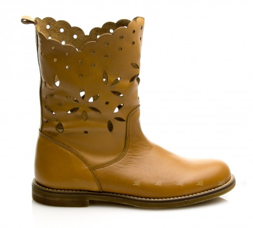 Tan Flower Laser Cut boots