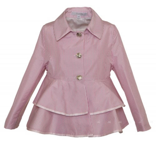 Pink Mallow Checked Trench with Peplum