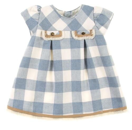 Baby Light Blue & Beige Check Print Dress
