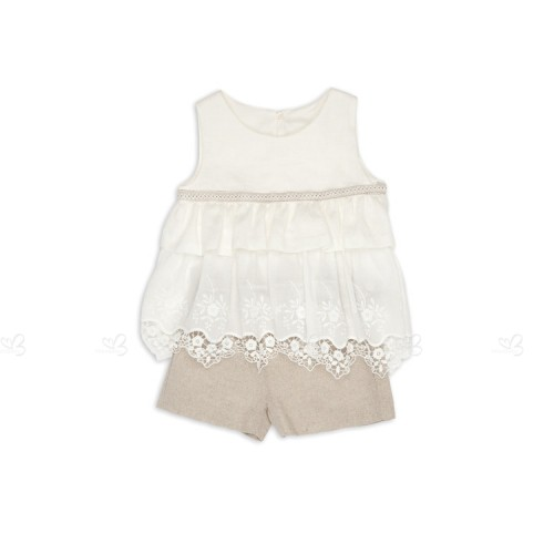 Ivory Broderie Ruffle Top & Linen Short Set