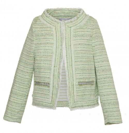 Green Tweed Blazer with Diamanté