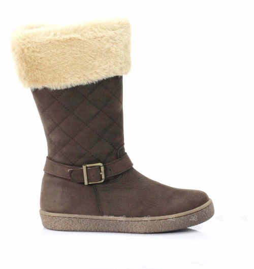 Brown Nubuck Leather Calf Boots with Synthetic Fur Top