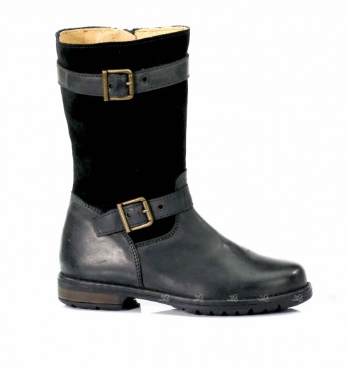 Black suede & leather biker boots with buckles