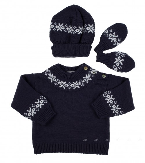 Navy 3 piece knitted set