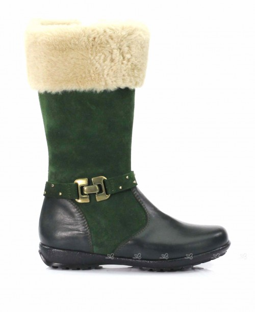 Dark Green Leather Calf Boots With Beige Synthetic Top
