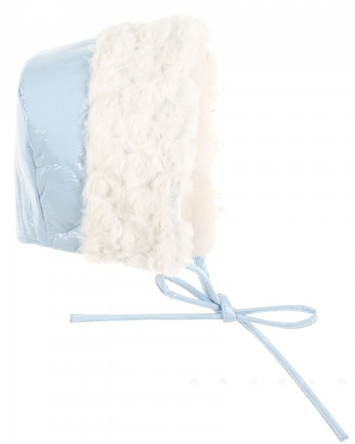 Sky Blue Patent Fleece Lined Bonnet with Synthetic Fur