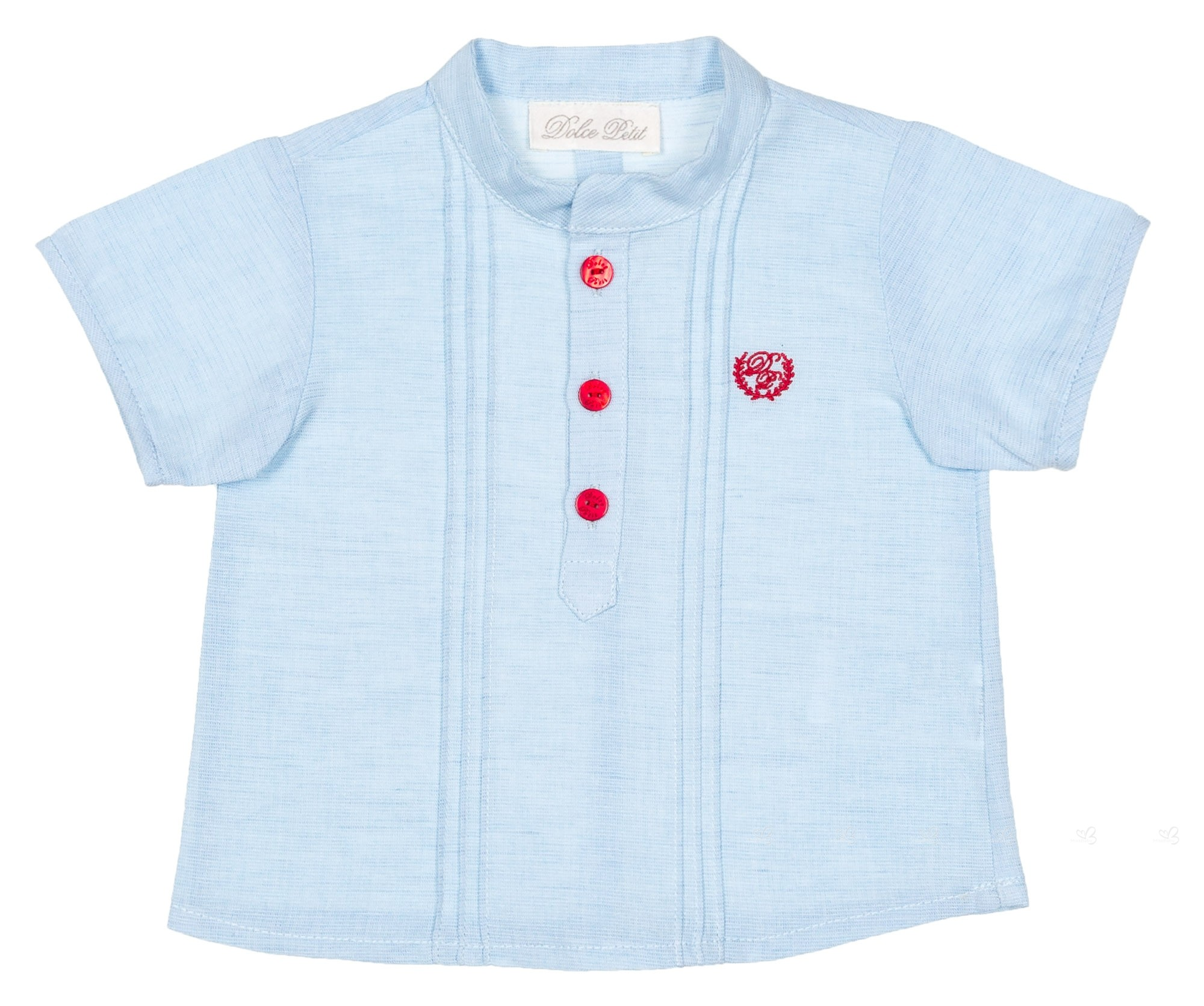 Dolce Petit Baby Boys Blue Shirt Red Checked Shorts Set