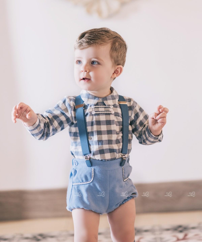 Baby Boys Blue Gray Checked Shirt 2 Piece Set Missbaby