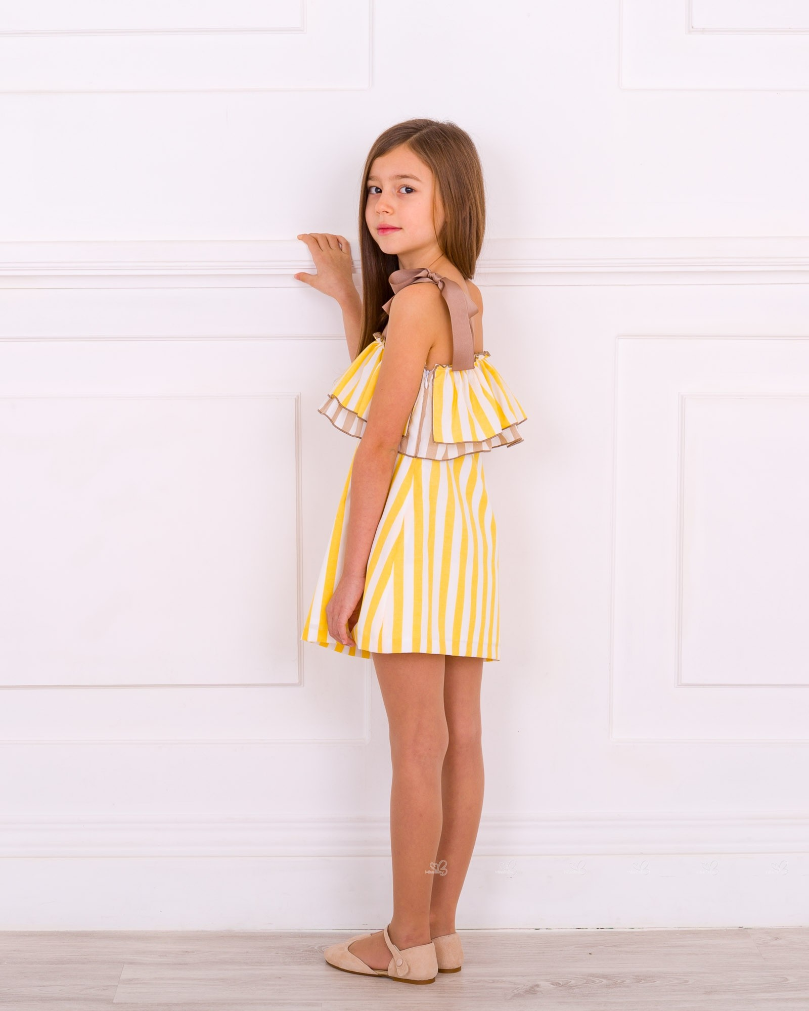 Rochy Girls Yellow U0026 White Ruffle Off The Shoulder Dress | Missbaby