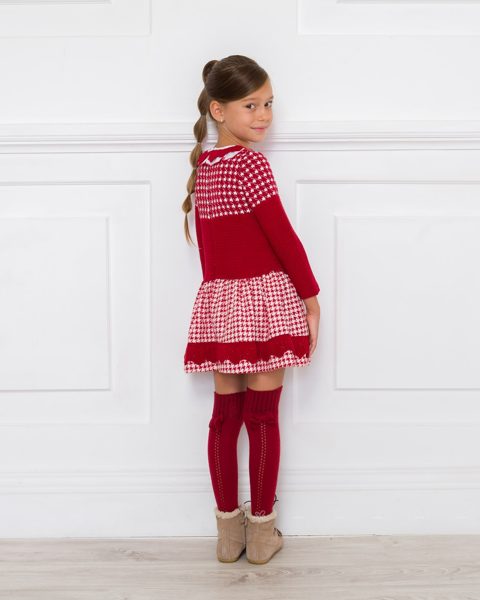 Red Knitted Houndstooth Dress Missbaby