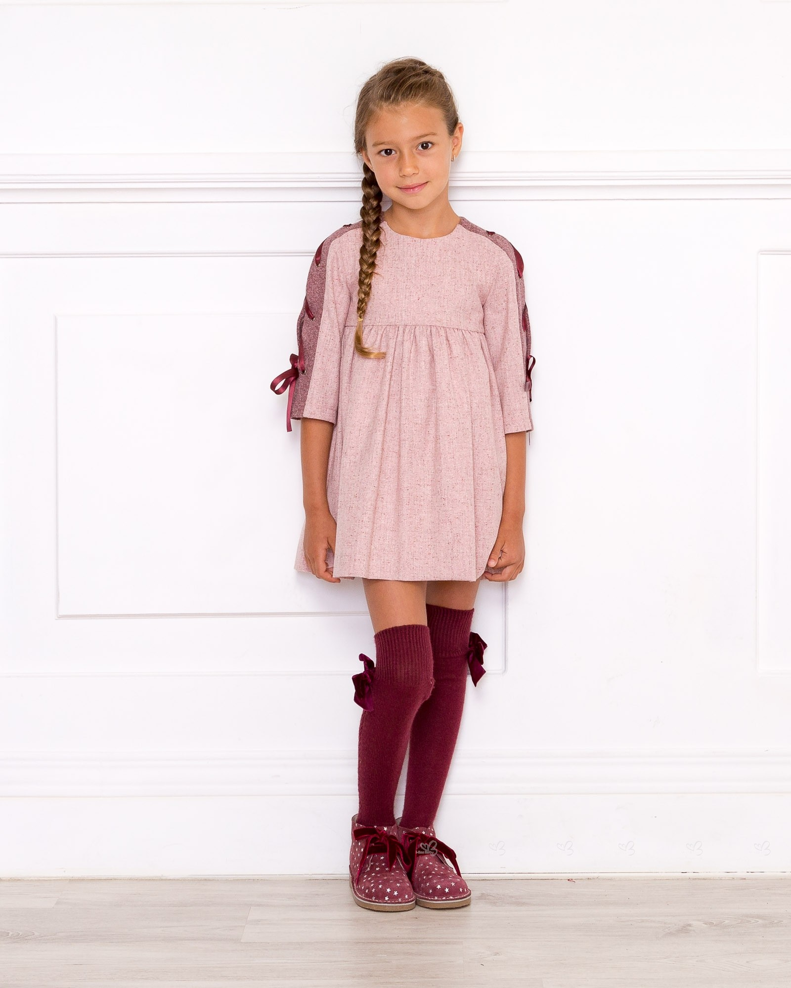 Girls Pink  Burgundy Dress  Missbaby-3467