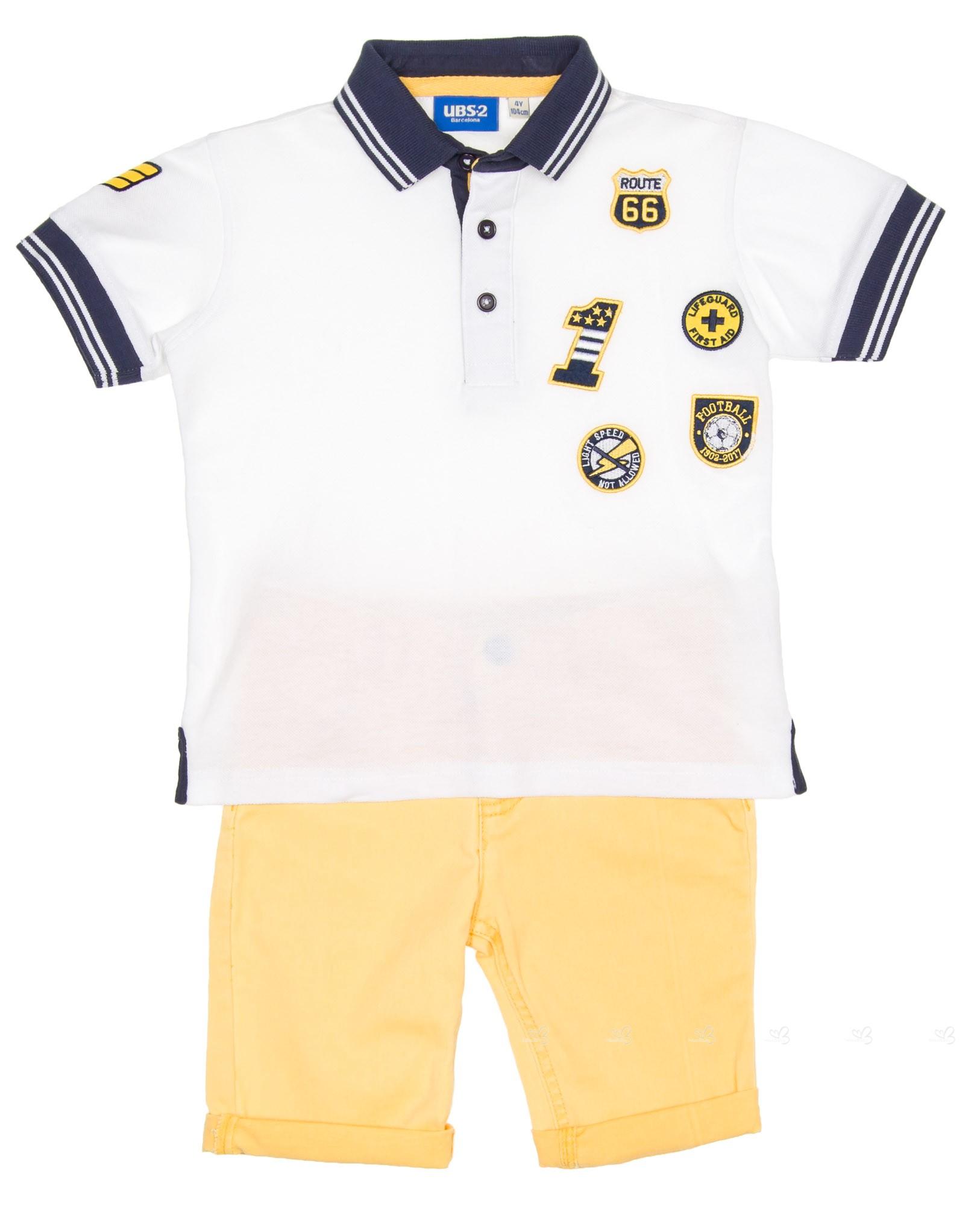 Ubs2 Boys White Polo Shirt Yellow Denim Shorts Set