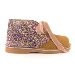 Girls Beige Suede & Glitter Boots with Velvet Bows