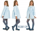 Sky Blue Patent Fleece Lined Coat with synthetic fur collar & cuffs