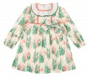 High Cut Floral Dress with Ruffle Collar & Bow