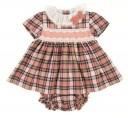 Pale Pink & Beige Tartan Dress & Knickers Set