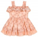 Girls Pale Peach Sea Star Embroidered Muslin Dress