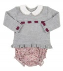 Grey & Deep Red Sweater & floral shorts set