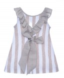 White & beige jersey stripped dress with frill and ribbon trim