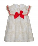 Beige & Red Toile Crocheted Dress