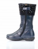Navy Leather & Suede Cristals Calf Boots