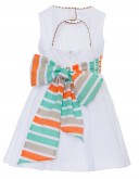 White Broderie Dress with Back Neckline & Striped Bow