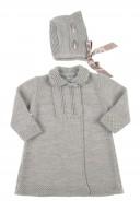 Grey 2 Piece Cotton Knitted Coat & Bonnet Set
