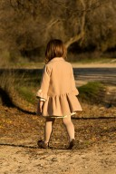 Beige Coat with Bow Details
