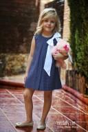 Navy & White Polka Dot Cotton Dress with Maxi Bow