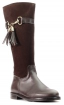 Chocolate Brown Suede Leather Tall  Boots