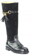 Black Suede & Leather Tall Boots