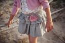 Blusk Pink Floral Top & Striped Ruffle Skirt Set